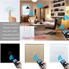 UK 1/2/3 Gang 1 Way Luxury Crystal Glass Remote Control Touch Switch LED Panel