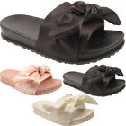New Girls Kids Childrens Slip On Holiday Open Toe Flat Satin Bow Slippers Shoes