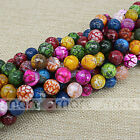 """Enhanced Mixed Color Natural Agate Crack Design Round Beads 15.5"""" Inches Strand"""
