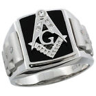 Mens Sterling Silver Black Onyx Masonic Ring CZ Stones & Frosted Sides, 5/8 inch