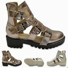 Womens Ladies Block Heel Strappy Buckles Cut Out Gladiator Summer Sandals Shoes