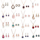 Fashion Women Wedding Bridal Party Crystal Necklace Pendant Earring Jewelry Sets