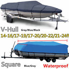 14-24Ft 600D Heavy Duty Waterproof Trailable Fish Ski Boat Cover V-Hull Beam 90""
