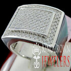 Genuine Silver White Gold Finish Real Lab Diamond Mens Wedding Pinky Ring Band