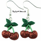 TFB - GLITTER CHERRY DANGLE EARRINGS QUIRKY NOVELTY GIRLS GIFT FUNKY FRUIT FOOD