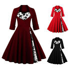 Womens Retro Vintage 50's 60's Rockabilly Pinup Party Dress Cocktail Swing Dress