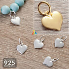 925 STERLING SILVER HEART WITH JUMP RING 10mm PENDANT CHARM BRACELET