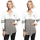 Women Ladies Casual Loose Top Long Sleeve Letter Print T-Shirt Summer Blouse Hot