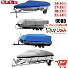 14 24Ft 600D Heavy Duty Waterproof Trailable Fish Ski Boat Cover V Hull Beam 100