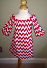 NEW Girls Boutique-Red & White CHEVRON PEASANT DRESS-Custom-2T or 3T