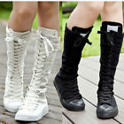 Women Girl Shoes Canvas Boots Zip Lace Up Knee High Top Coming Sneaker Colourful