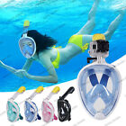 Full Face Swimming Snorkeling Mask 180° Panoramic View Snorkel Scuba For Gopro