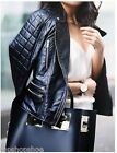 Genuine Zara Black Real Leather Quilted Sleeve Zip Biker Jacket Beautiful New