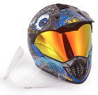 DOT Motocross Helmet NK-310 Skull Blue  With Extra Spare Clear Anti fog Visor