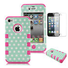 Hybrid Shockproof Rubber Matte Hard Case Cover For Apple iPhone 4 4S - Mint Dots