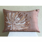 "Sequins And Beaded Flower Pink Art Silk 20""x36"" Pillow Cover - Fading To Light"