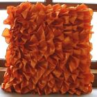 "Orange Satin 12""x12"" Vinage Style Ruffles Pillow Cases - Vintage Orange"