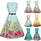 UK Vintage Kids Girls Sleeveless Print Floral Swing Skater Party Dress Age5-13Y