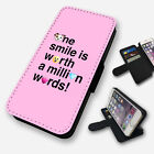 ONE SMILE EMOJI QUOTE PINK FLIP PHONE CASE COVER WALLET CARD HOLDER (F)