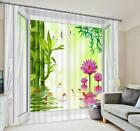 3D Bamboos Flowers Blockout Photo Curtain Printing Curtains Drapes Fabric Window