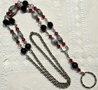 Red & Black Beaded  Lanyard  w/ Ruby Swarovski™ Crystals, Breakaway Optional