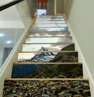 3D Mountains City 4 Stair Risers Decoration Photo Mural Vinyl Decal Wallpaper UK