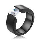 Men's Fashion Stainless Steel Simulated Diamond Band Rings Gift Size 7 8 9 10 11