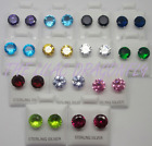 925 Sterling Silver Round Birthstone Colour Diamante Stud Earrings Bridesmaid Uk