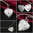 Heart Shaped  Photo Locket Pendant Necklace Chain Silver -STYLE 1 (JP25)