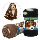 Cute Paw Print Pet Cat Dog Blanket Beds Mat Fleece  Winter Warmer Black Coffee