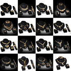 Women Wedding Party Gold Plated Crystal Rhinestone Necklace Earring Jewelry Sets