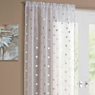 Pencil Pleat Curtain Voile Panel with Silver Hearts Pattern – Easy to Hang