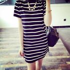 Korean Style T-Shirt Dress Short Sleeve Loose Black&White Striped Summer Casual