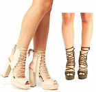 Womens Ladies High Block Heel Peep Toe Lace Up Sandals Platforms New Shoes Size