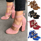 Women Ankle Strap Lace Up Block Chunky High Heels Closed Toe Sandals Shoes Pumps