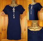 NEW M&S NAVY BLUE BRODERIE LACE TRIM JERSEY SUMMER TUNIC TOP DRESS UK SIZE 8-20