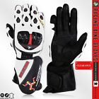 Motorbike Leather Gloves ISLE of MAN Sport Gloves Carbon Knuckle WHITE