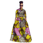 Sexy Womens 2Piece African Tribal Froral Print 3/4 Sleeve Party Long Dress