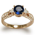 14k Rose Gold 1.30 CT Ceylon Sapphire .40 CT G-VS2 Diamond Anniversary Ring.