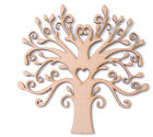 Wooden MDF Tree Shape Family Tree Frame Wedding Guestbook Bud with Heart Cutout