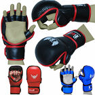 MMA Gloves Leather Grappling Punch Bag Training Martial Arts Sparring Fight UFC