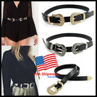 NEW- Women Fashion Lady Vintage Metal Leather Double Buckle Waist Belt Waistband