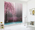 3D Blockout Window Curtain Home Darkening Fabric Curtains Spring Cherry Blossom
