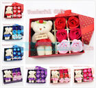 6pcs/set Colorful Rose Flower Petal Bathing Soap & Toy Bear & Gift Box