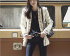 Occident high-end fashion custom female manual nail bead long-sleeve woolen coat