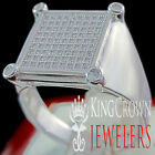 Mens 10K White Gold On Real Siver Round Cut Simu Diamond Pinky Ring Square Band