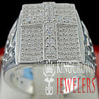 MENS 10K WHITE GOLD ON REAL SILVER DIAMOND SIMULATE JESUS CROSS PINKY RING BAND