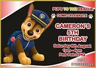 Paw Patrol Party Invites Personalised Birthday Invitations boy girl red chase