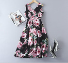 17 Occident high quality fashion v-neck Modern Vintage rose Printed party dress