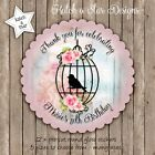 SHABBY VINTAGE BIRD CAGE PERSONALISED SCALLOP CIRCLE GLOSS STICKERS x12